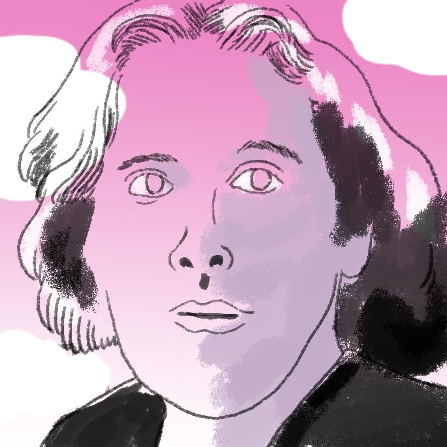 illustrated portrait of English author Oscar Wilde with clouds in the background