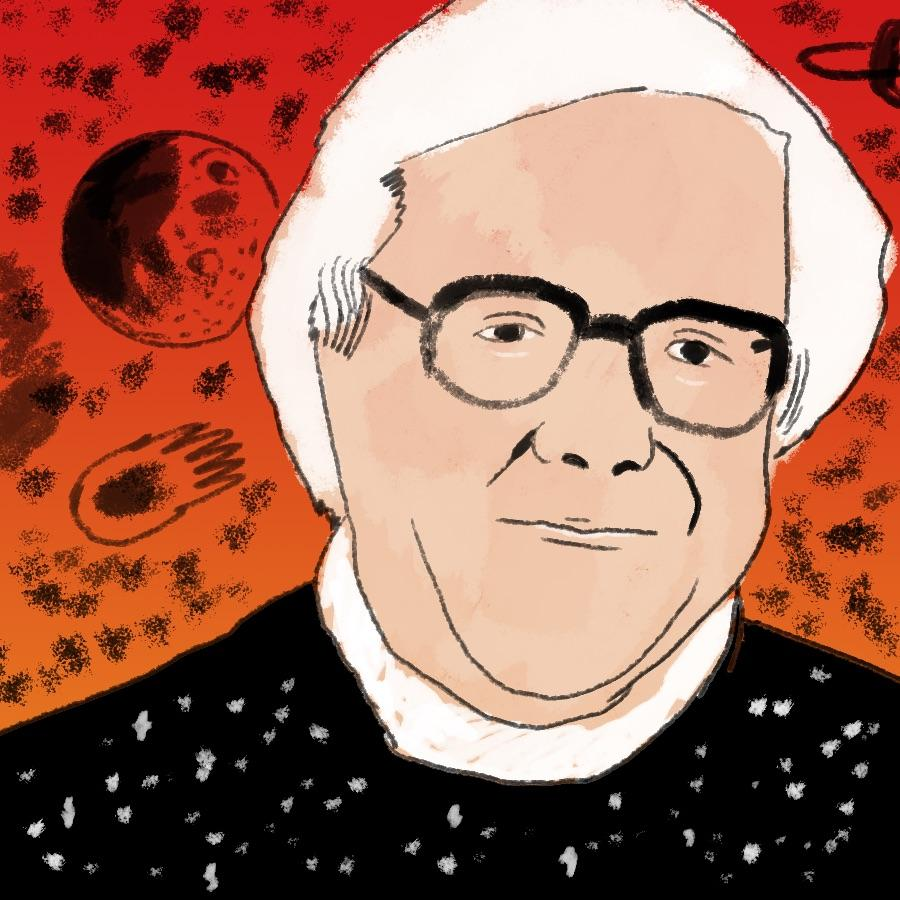 illustrated portrait of American author Ray Bradbury