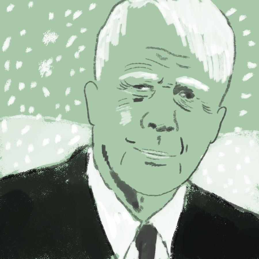 illustrated portrait of American poet Robert Frost
