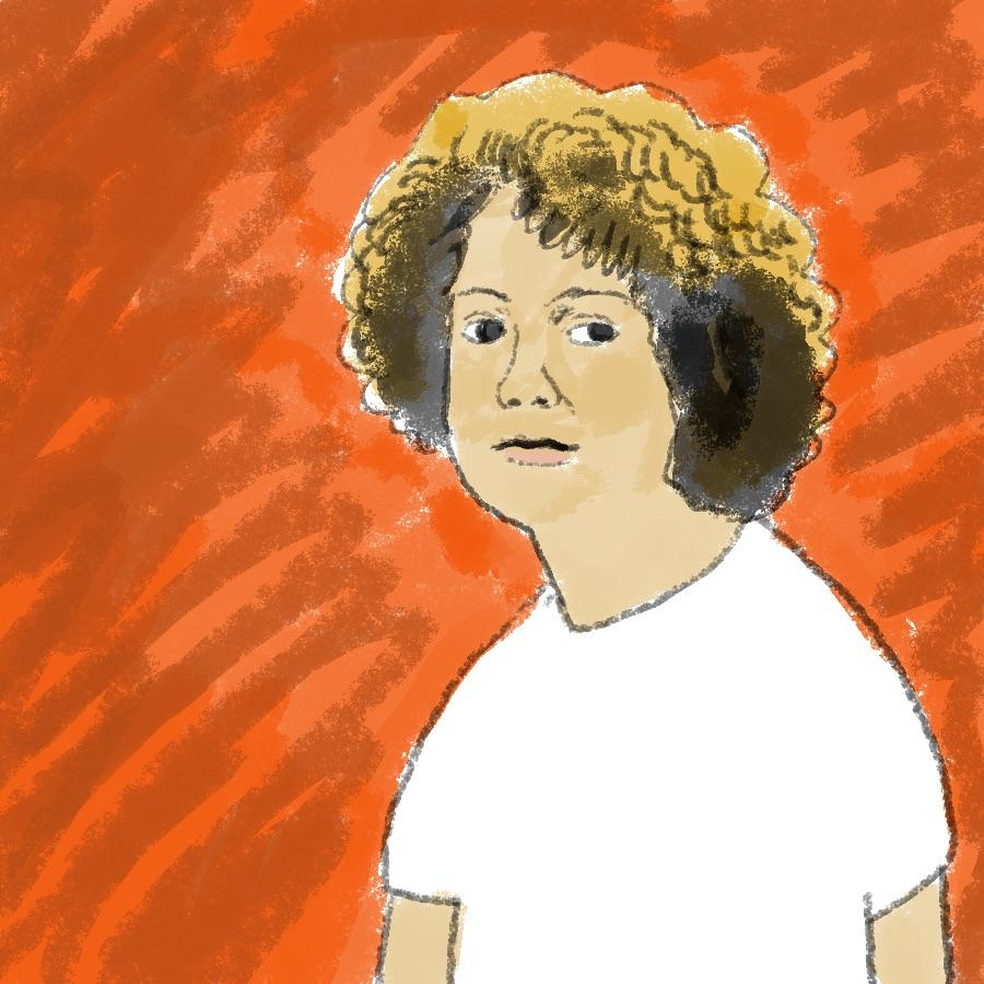 illustrated portrait of American author S. E. Hinton
