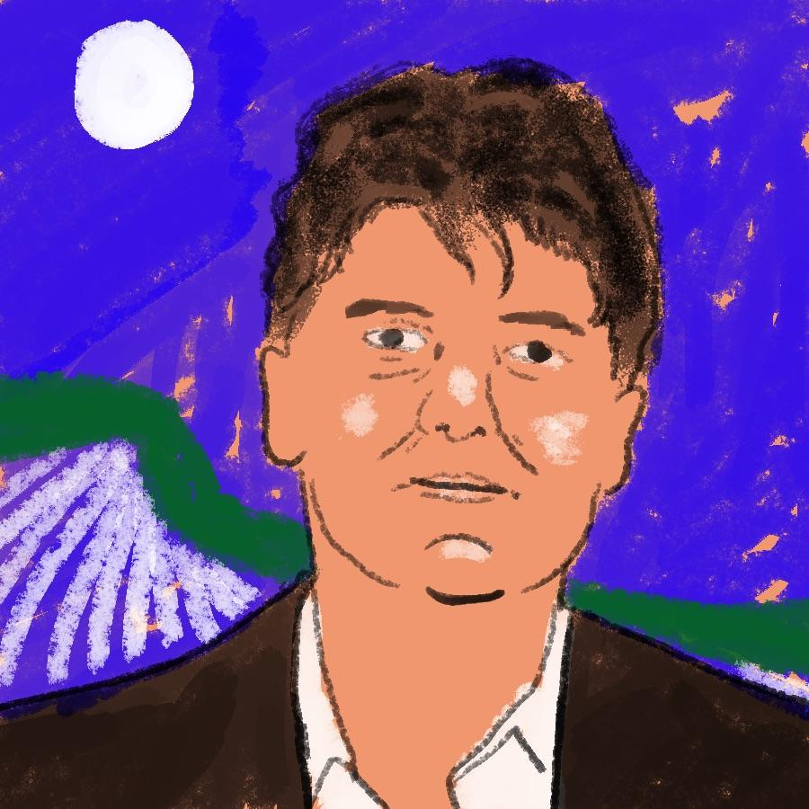 illustrated portrait of American Indian author Sherman Alexie
