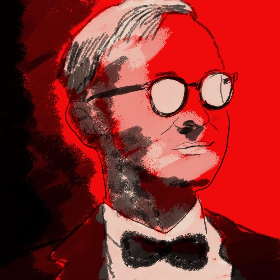 illustrated portrait of American writer Truman Capote