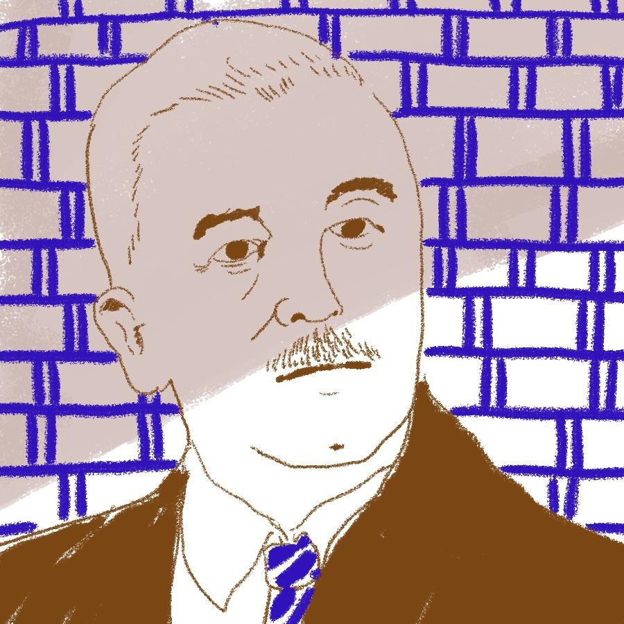 illustrated portrait of American author William Faulkner