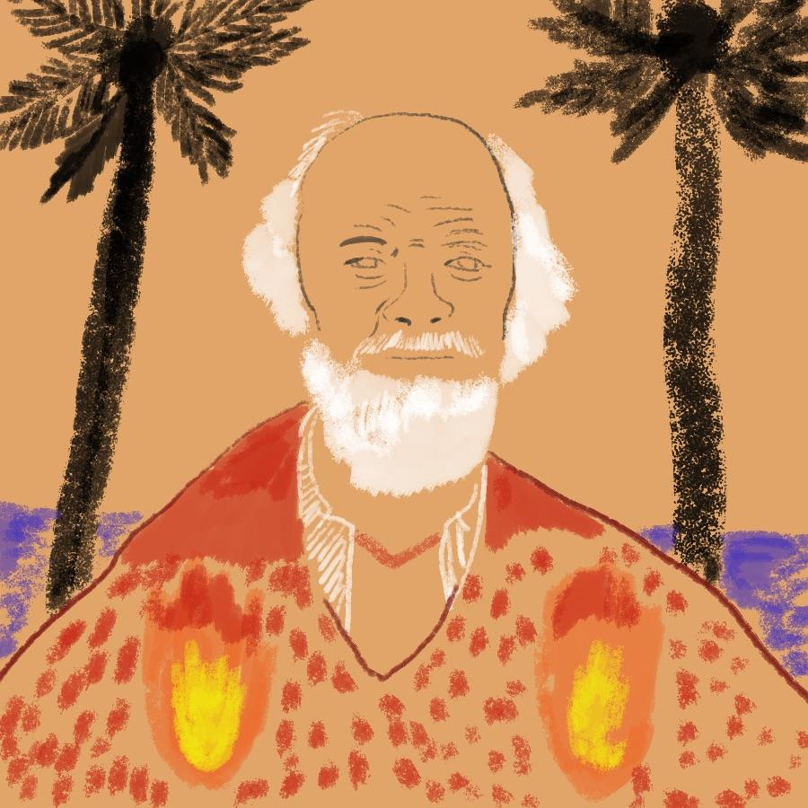 illustrated portrait of English author William Golding