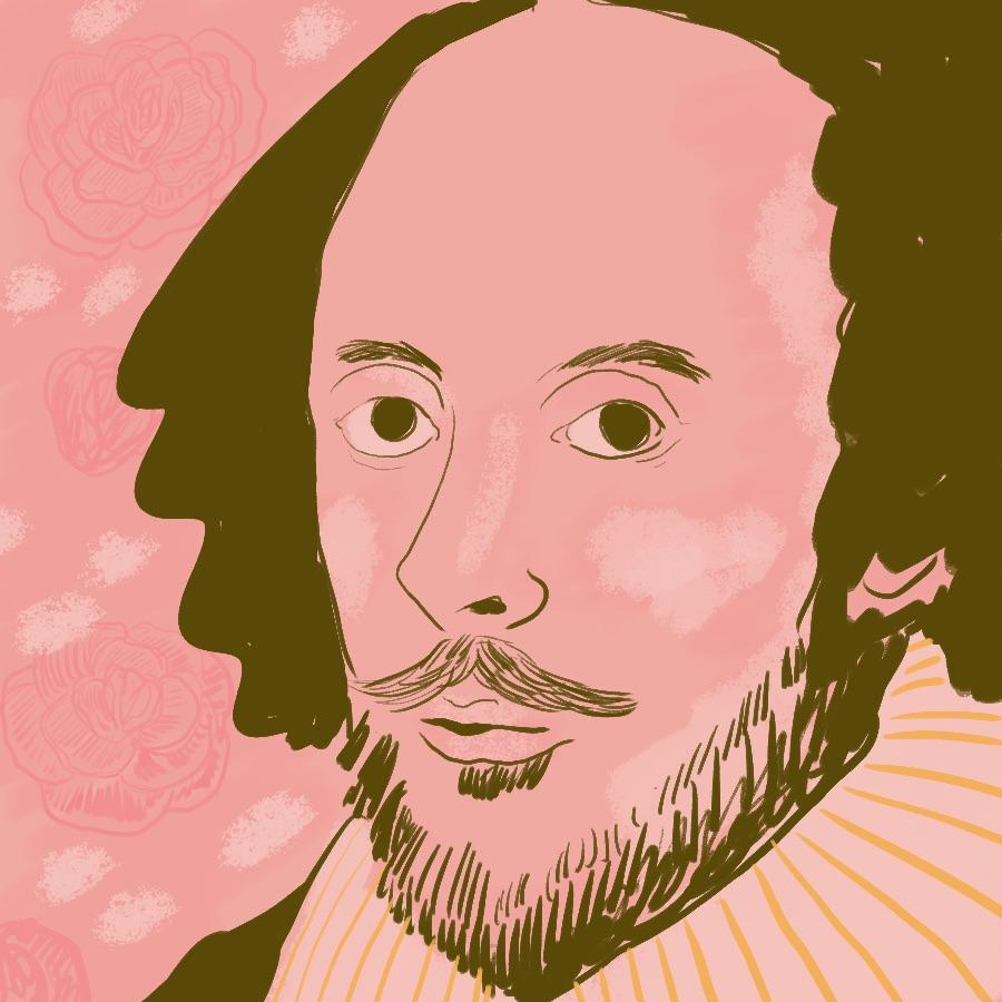 illustrated portrait of English playwright and poet William Shakespeare